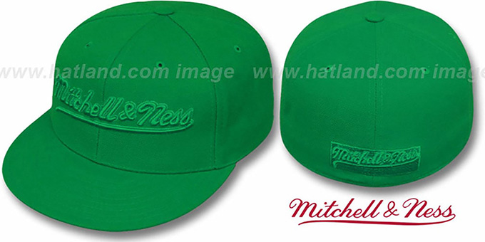 Mitchell & Ness 'GREENOUT' Fitted Hat : pictured without stickers that these products are shipped with