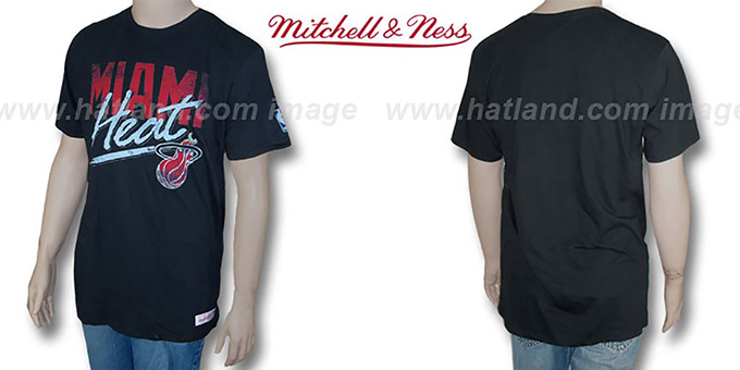 Mitchell & Ness Heat 'Fan Vintage' Black T-Shirt : pictured without stickers that these products are shipped with