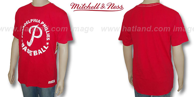 Mitchell & Ness Phillies 'Fan Vintage' Red T-Shirt : pictured without stickers that these products are shipped with