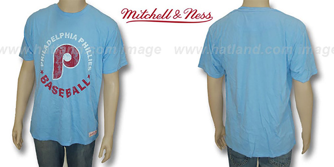 Mitchell & Ness Phillies 'Fan Vintage' Sky T-Shirt : pictured without stickers that these products are shipped with