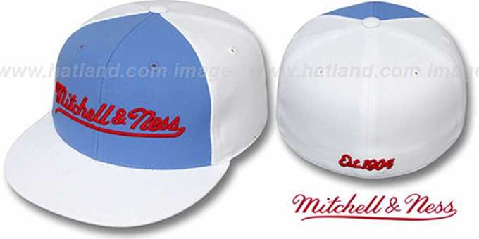 Mitchell & Ness 'PINWHEEL' Sky-White Fitted Hat : pictured without stickers that these products are shipped with