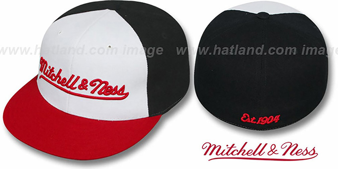 Mitchell & Ness 'PINWHEEL' White-Black-Red Fitted Hat : pictured without stickers that these products are shipped with