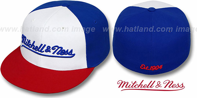 Mitchell & Ness 'PINWHEEL' White-Royal-Red Fitted Hat : pictured without stickers that these products are shipped with