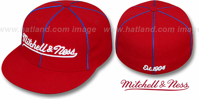 Mitchell & Ness 'PIPING' Red-Royal Fitted Hat : pictured without stickers that these products are shipped with