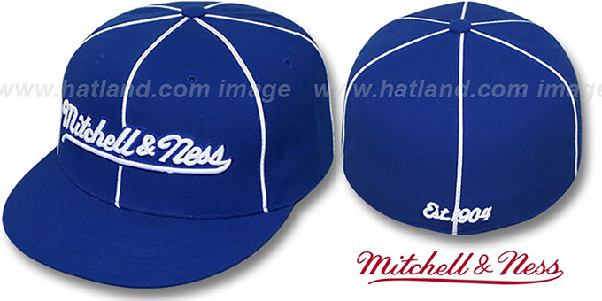 Mitchell & Ness 'PIPING' Royal-White Fitted Hat : pictured without stickers that these products are shipped with