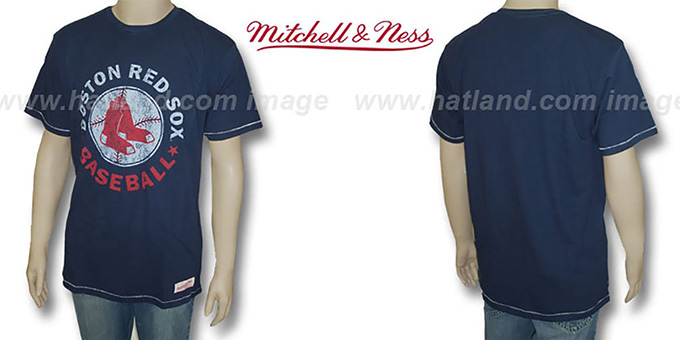 Mitchell and Ness Red Sox 'Fan Vintage' Navy T-Shirt : pictured without stickers that these products are shipped with