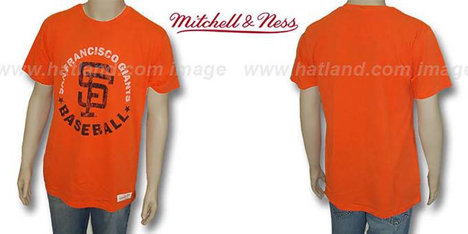 Mitchell & Ness SF Giants 'Fan Vintage' Orange T-Shirt : pictured without stickers that these products are shipped with