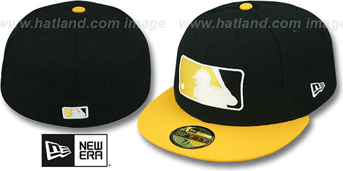 MLB '2T-FASHION UMPIRE' Black-Gold Fitted Hat by New Era : pictured without stickers that these products are shipped with