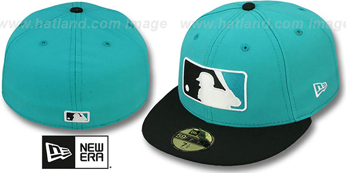 MLB '2T-FASHION UMPIRE' Teal-Black Fitted Hat by New Era : pictured without stickers that these products are shipped with