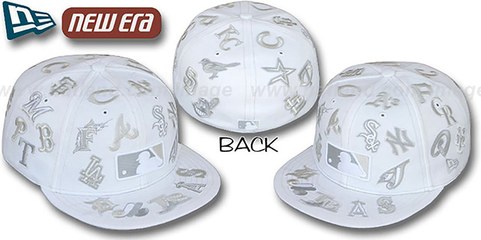 MLB 'ALL-OVER FADEOUT' White Fitted Hat by New Era : pictured without stickers that these products are shipped with