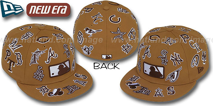 MLB 'ALL-OVER' Wheat-Brown Fitted Hat by New Era : pictured without stickers that these products are shipped with