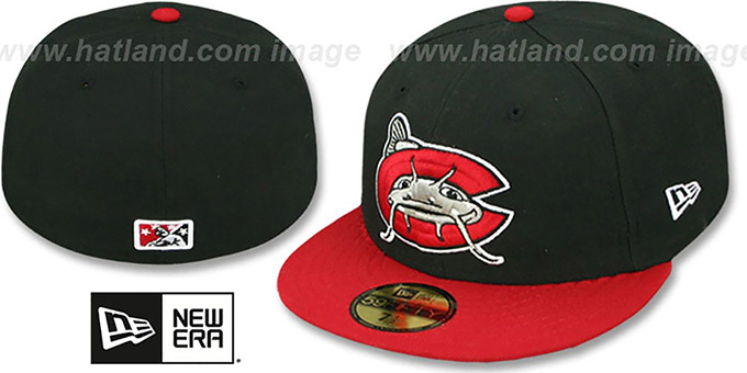 Mudcats 'PERFORMANCE HOME' Black-Red Fitted Hat by New Era : pictured without stickers that these products are shipped with