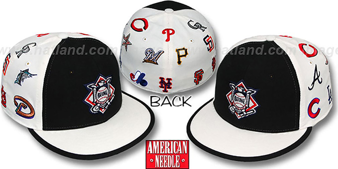 National League 'ALL-OVER' Fitted Hat - Black-White : pictured without stickers that these products are shipped with