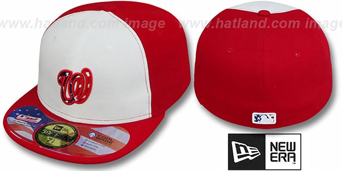 Nationals '2011 STARS N STRIPES' White-Red Hat by New Era : pictured without stickers that these products are shipped with