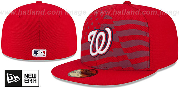 Nationals '2015 JULY 4TH STARS N STRIPES' Hat by New Era : pictured without stickers that these products are shipped with