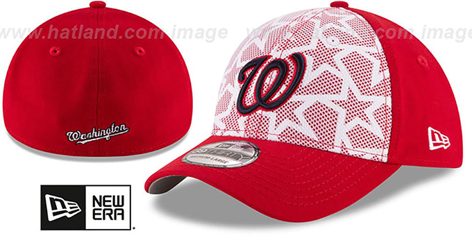 Nationals '2016 JULY 4TH STARS N STRIPES FLEX' Hat by New Era : pictured without stickers that these products are shipped with