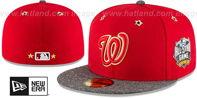 Nationals '2016 MLB ALL-STAR GAME' Fitted Hat by New Era : pictured without stickers that these products are shipped with