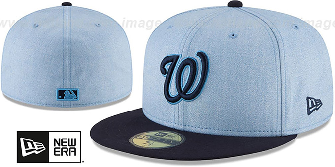 Nationals '2018 FATHERS DAY' Sky-Navy Fitted Hat by New Era