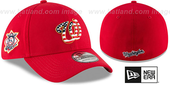 Nationals '2018 JULY 4TH STARS N STRIPES FLEX' Red Hat by New Era