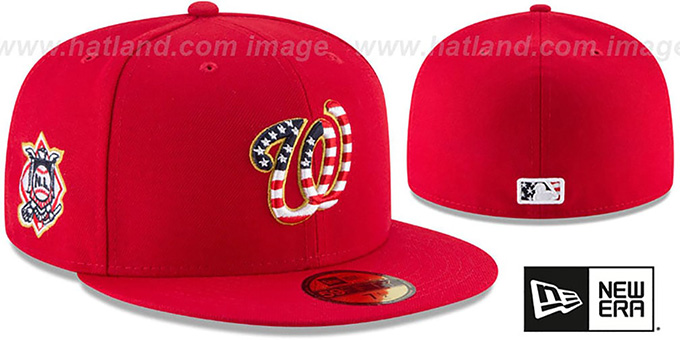 bdc9407b0e6 Washington Nationals 2018 JULY 4TH STARS N STRIPES Red Fitted Hat