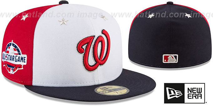 Nationals '2018 MLB ALL-STAR GAME' Fitted Hat by New Era : pictured without stickers that these products are shipped with