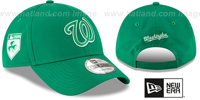 Nationals '2018 ST PATRICKS DAY 940 STRAPBACK' Hat by New Era : pictured without stickers that these products are shipped with