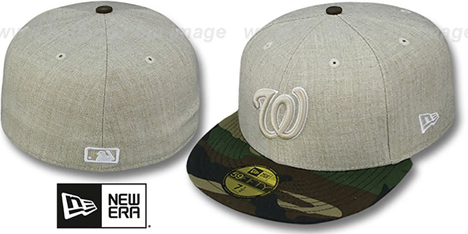 Nationals '2T-HEATHER' Oatmeal-Army Fitted Hat by New Era : pictured without stickers that these products are shipped with