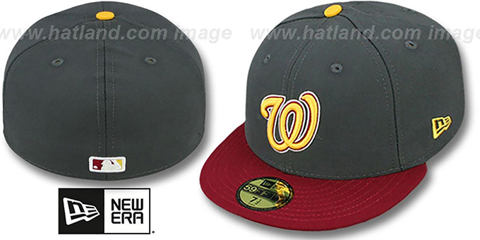 Nationals '2T OPPOSITE-TEAM'  Grey-Burgundy Fitted Hat by New Era : pictured without stickers that these products are shipped with