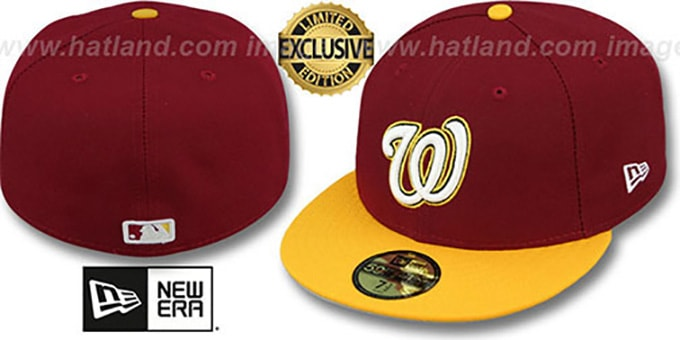 Nationals '2T OPPOSITE-TEAM' Burgundy-Gold Fitted Hat by New Era : pictured without stickers that these products are shipped with