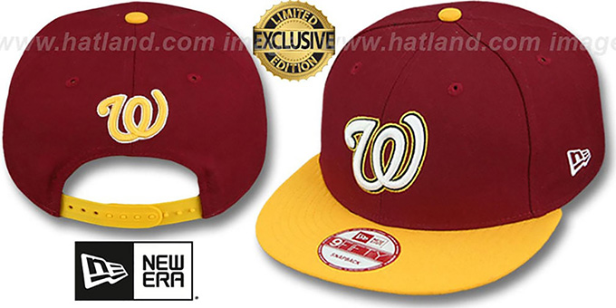 Nationals '2T OPPOSITE-TEAM' SNAPBACK Burgundy-Gold Hat by New Era : pictured without stickers that these products are shipped with