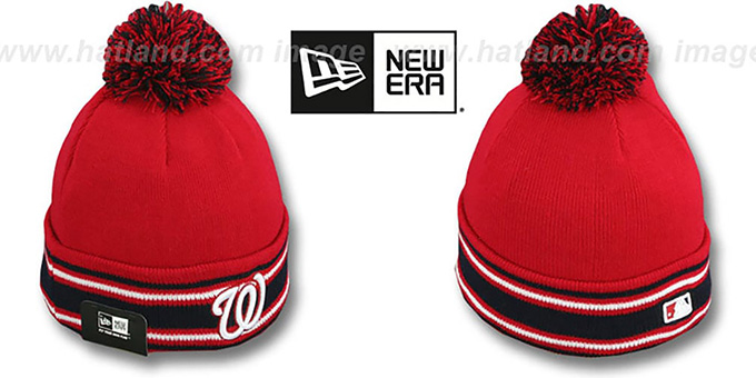 Nationals 'AC-ONFIELD' Red Knit Beanie Hat by New Era : pictured without stickers that these products are shipped with