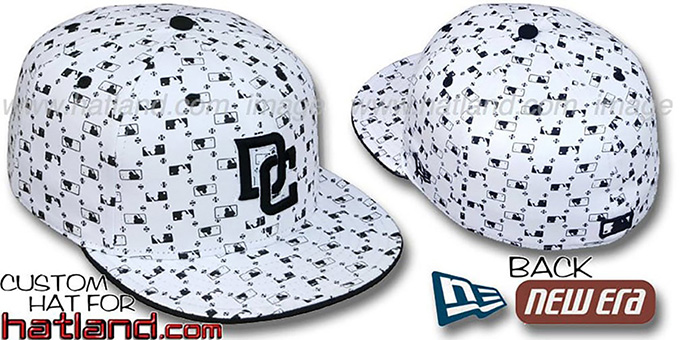 Nationals ALT 'MLB FLOCKING' White-Black Fitted Hat by New Era : pictured without stickers that these products are shipped with