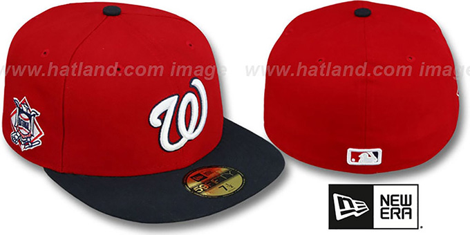 Nationals 'BAYCIK' Red-Navy Fitted Hat by New Era : pictured without stickers that these products are shipped with