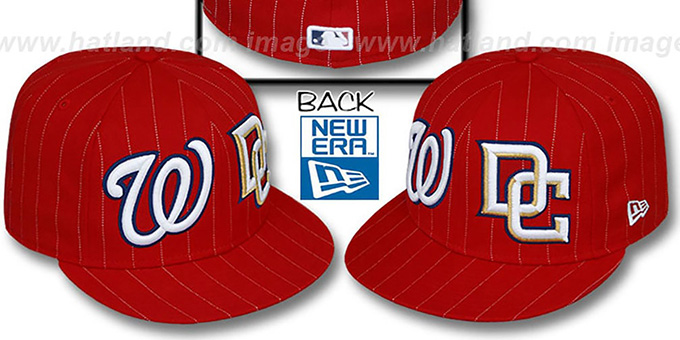 Nationals 'BIG-ONE DOUBLE WHAMMY' Red-White Fitted Hat : pictured without stickers that these products are shipped with