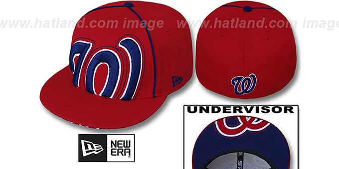 Nationals 'BIG-UNDER' Red Fitted Hat by New Era : pictured without stickers that these products are shipped with