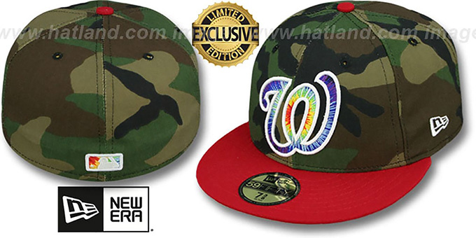 Nationals 'CAMO TYE-DYE INSIDER' Army-Red Fitted Hat by New Era : pictured without stickers that these products are shipped with