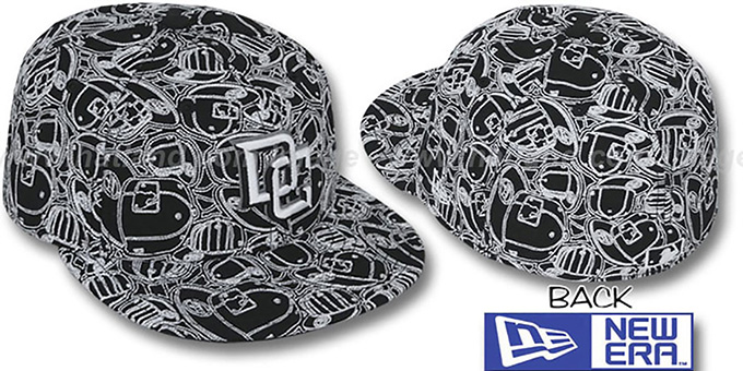 Nationals 'CHAOS PUFFY' Black-White Fitted Hat by New Era : pictured without stickers that these products are shipped with