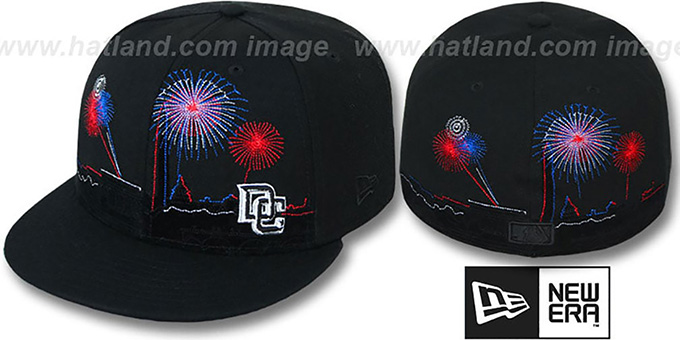 Nationals 'CITY-SKYLINE FIREWORKS' Black Fitted Hat by New Era : pictured without stickers that these products are shipped with