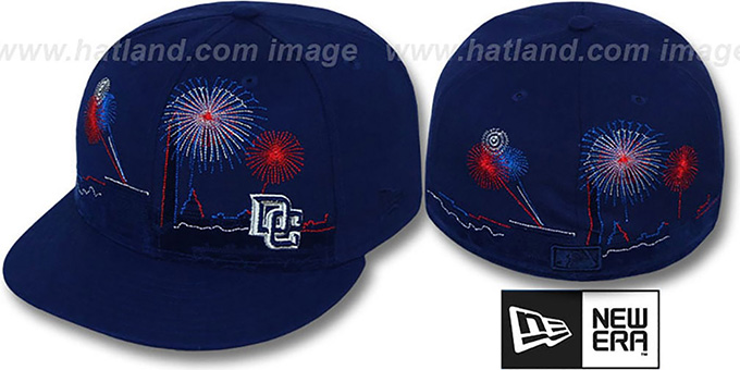 Nationals 'CITY-SKYLINE FIREWORKS' Navy Fitted Hat by New Era : pictured without stickers that these products are shipped with
