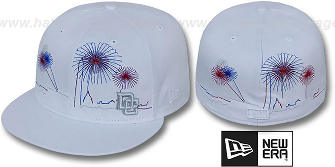 Nationals 'CITY-SKYLINE FIREWORKS' White Fitted Hat by New Era : pictured without stickers that these products are shipped with