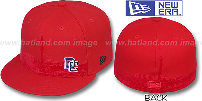 Nationals 'CITY-SKYLINE' Red Fitted Hat by New Era : pictured without stickers that these products are shipped with
