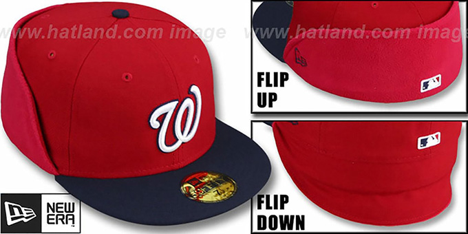 Nationals 'CLEAN CUT FLIP-DOWN' Red-Navy Fitted Hat by New Era : pictured without stickers that these products are shipped with