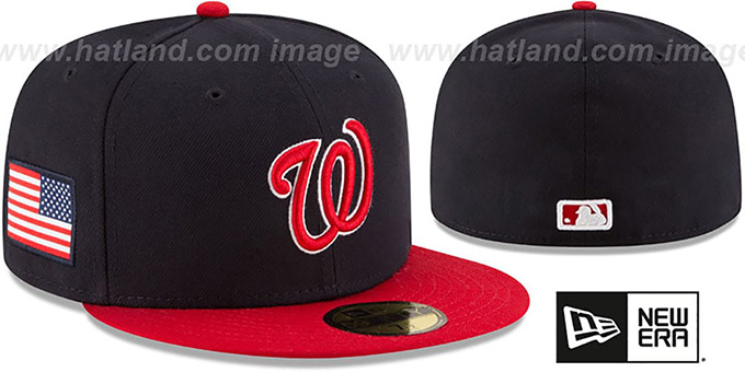 Nationals 'COUNTRY COLORS' Navy-Red Fitted Hat by New Era : pictured without stickers that these products are shipped with