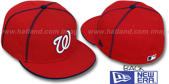 Nationals 'CURVE-BALL' Red Fitted Hat by New Era : pictured without stickers that these products are shipped with