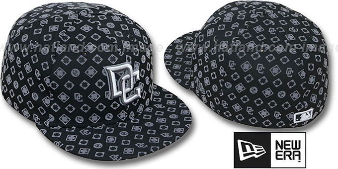 Nationals 'D-LUX ALL-OVER' Black-Grey Fitted Hat by New Era : pictured without stickers that these products are shipped with