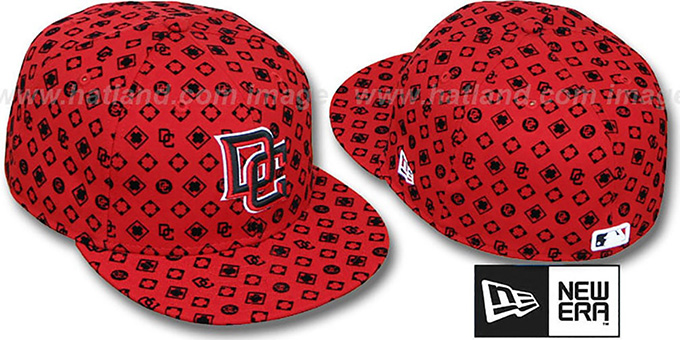 Nationals 'D-LUX ALL-OVER' Red-Black Fitted Hat by New Era : pictured without stickers that these products are shipped with