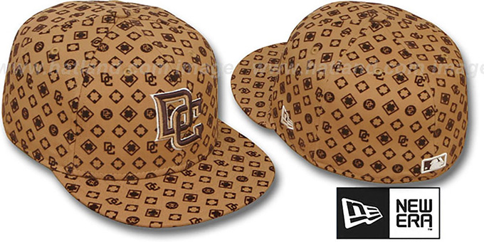 Nationals 'D-LUX ALL-OVER' Wheat-Brown Fitted Hat by New Era : pictured without stickers that these products are shipped with