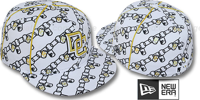 Nationals 'DAWG CHAIN' White-Black Fitted Hat by New Era : pictured without stickers that these products are shipped with