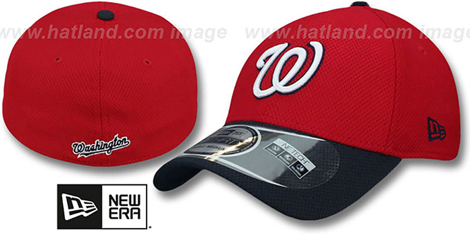 Nationals 'DIAMOND ERA' 39THIRTY Flex Red-Navy Hat by New Era : pictured without stickers that these products are shipped with