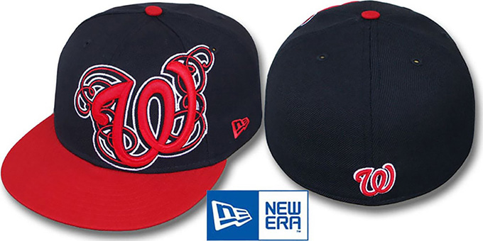 Nationals 'DUBCHA' Navy-Red Fitted Hat by New Era : pictured without stickers that these products are shipped with